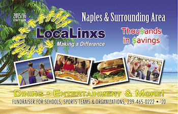 LocaLinx Naples Coupon Book Cover 2015-2015 Discounts Loyalty Club VIP Savings